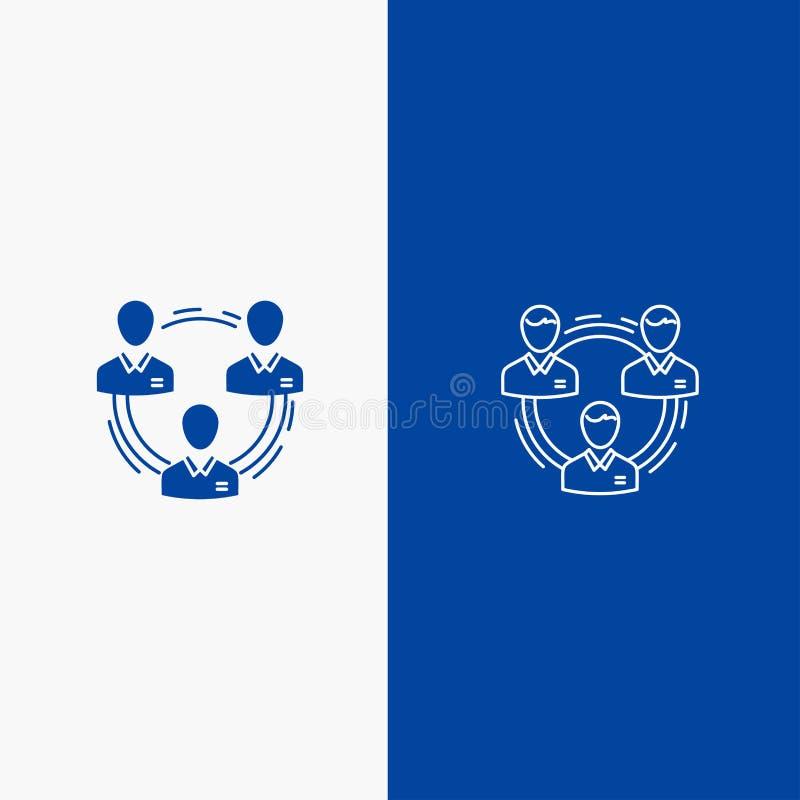 Команда, дело, сообщение, иерархия, люди, линия социальных, структуры линии и глифа твердого значка голубые знамени и твердое тел бесплатная иллюстрация
