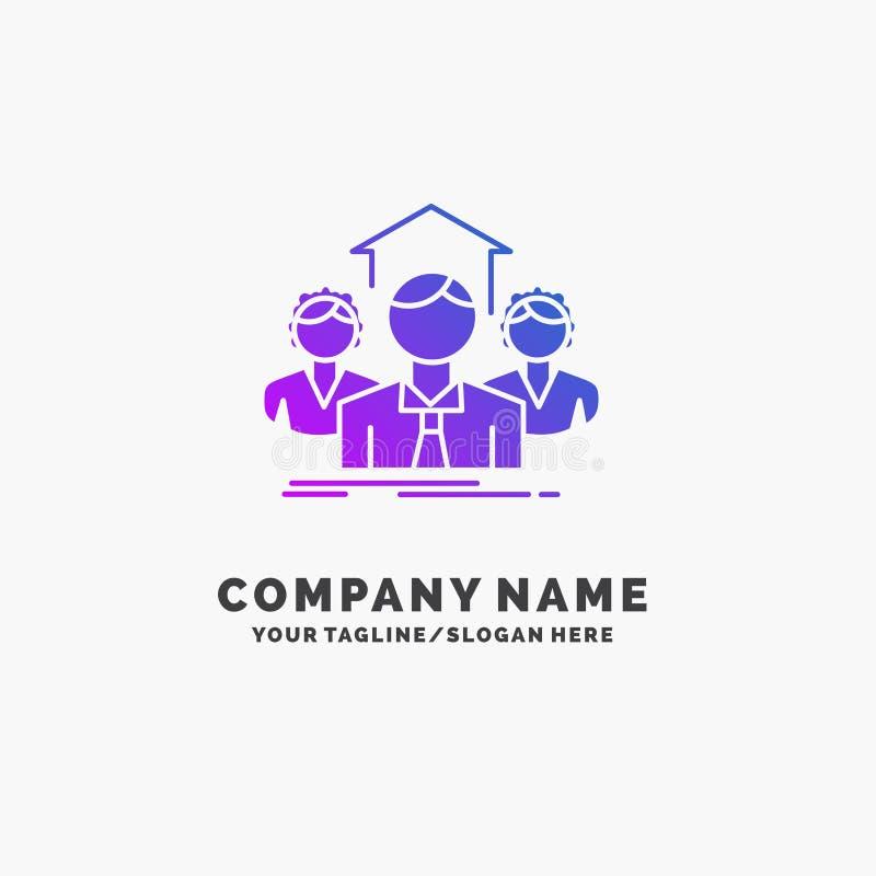 Команда, дело, сыгранность, группа, встречая пурпурный шаблон логотипа дела r иллюстрация штока