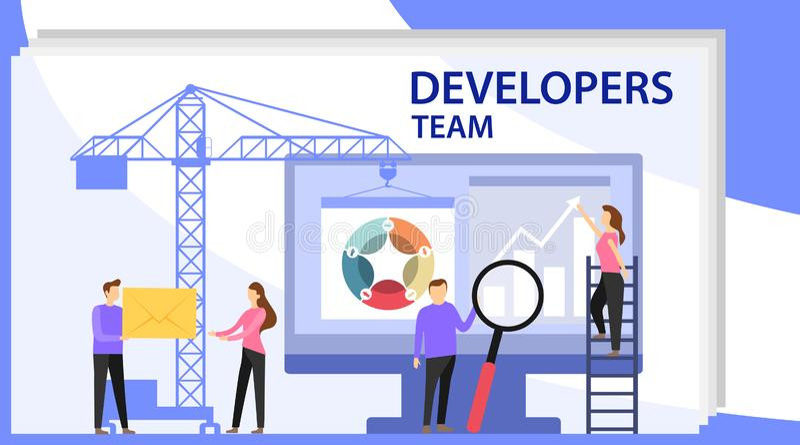 Команда инженера на разработке проекта, шаблоне для разработчика Развитие приложения и концепция запуска Запустите новый продукт иллюстрация вектора