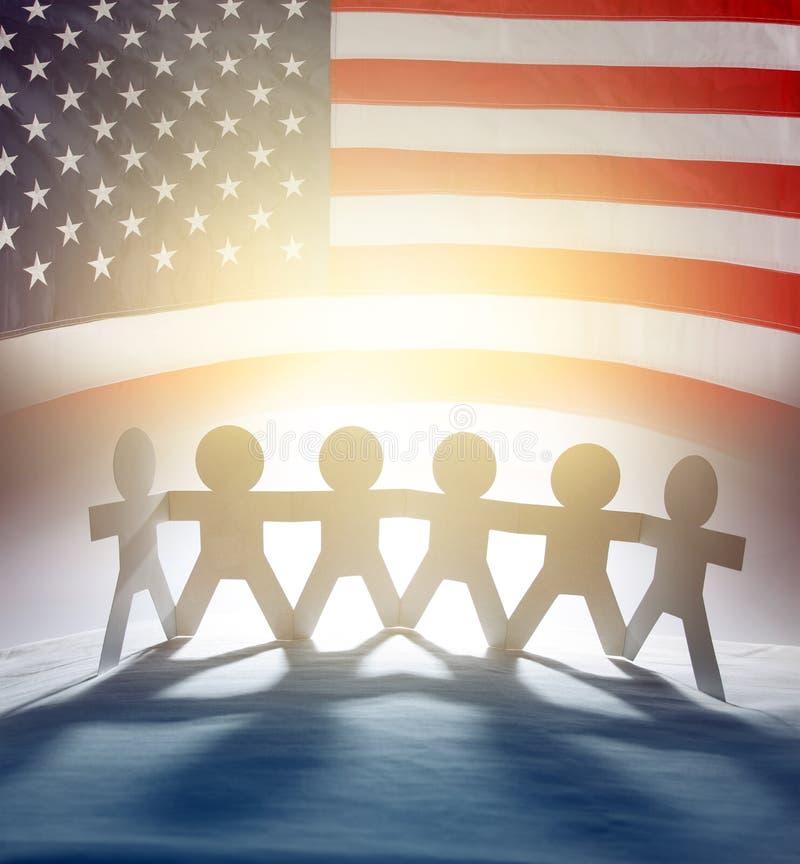 Команда и флаг США стоковые изображения