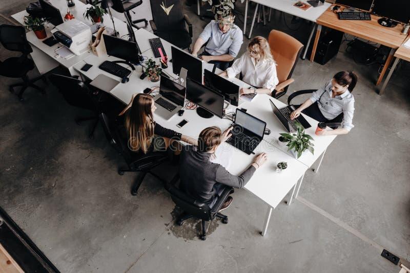 Команда коллег работает с ноутбуком и документами сидя на столах в современном офисе Процесс работы в офисе стоковое фото