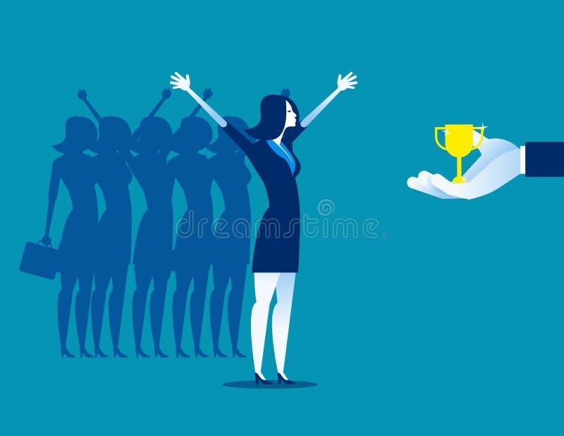 Команда коммерсантки счастливая к успеху Иллюстрация вектора дела концепции бесплатная иллюстрация