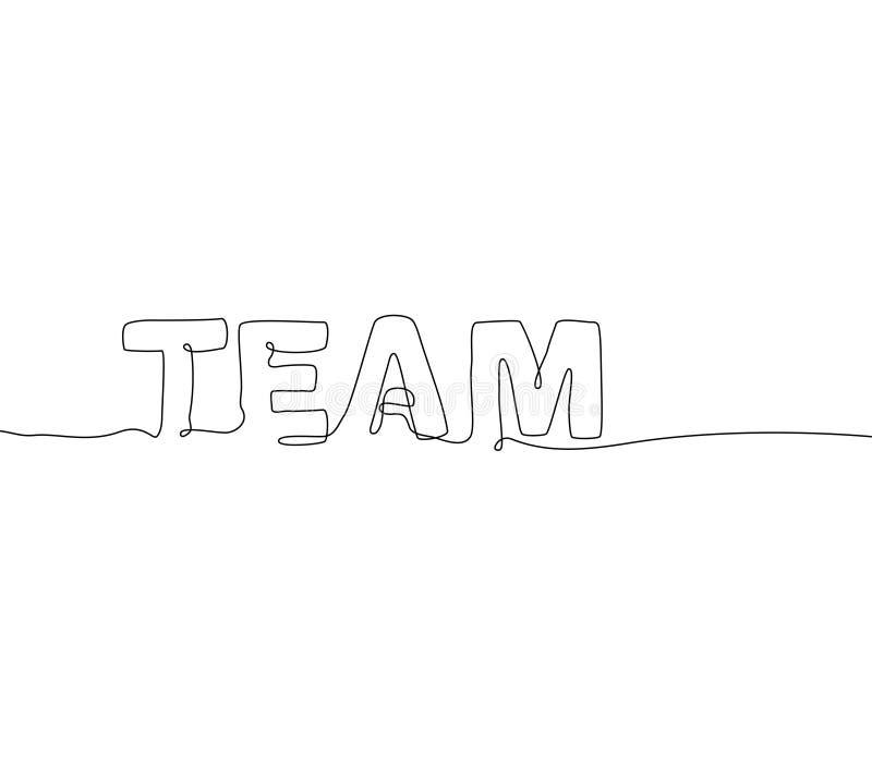 Команда - одна непрерывная линия литерность стиля дизайна иллюстрация вектора