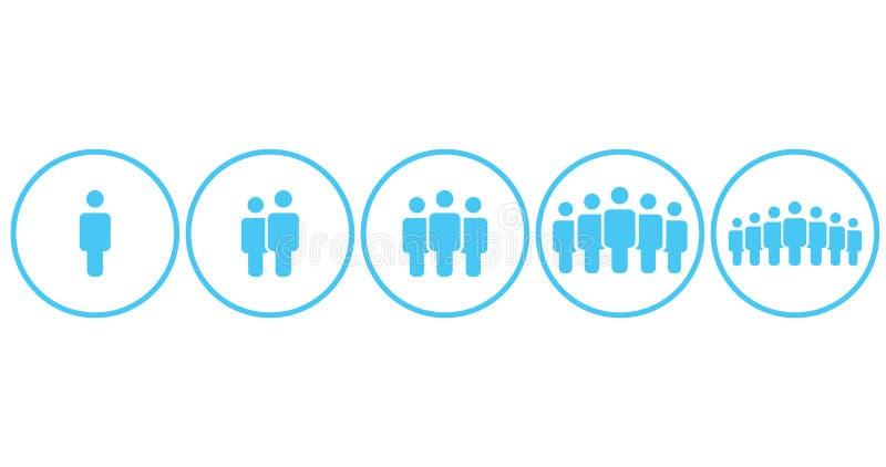 Команда рабочей группы значков людей, люди толпится набор символа простой в круге для использования в отчете о Infographics вебса иллюстрация вектора