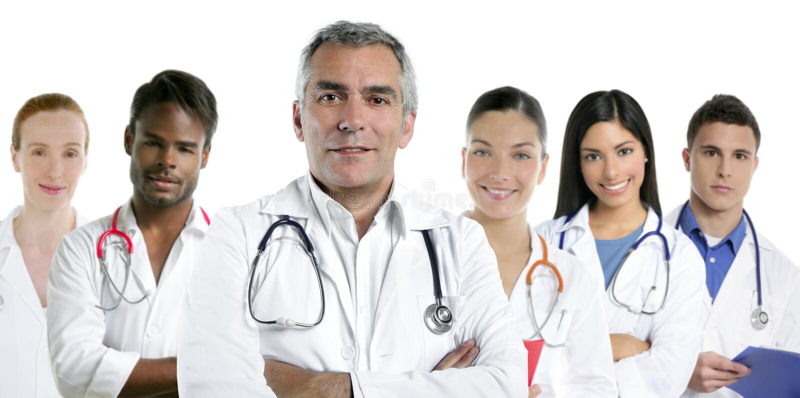 команда рядка нюни экспертизы доктора multiracial стоковое фото rf