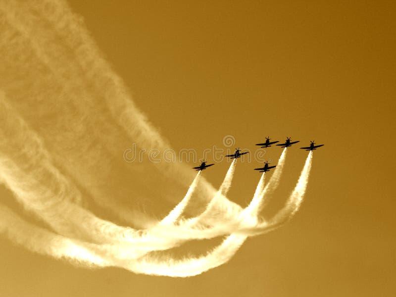 команда синхронизированная полетом v стоковая фотография