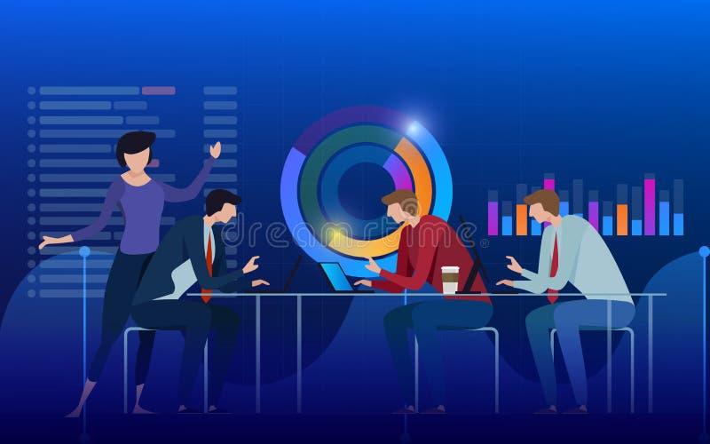 Команда специалистов работая на цифровой маркетинговой стратегии, цифровом анализе, концепции выгоды фиолет предпосылки голубой иллюстрация вектора