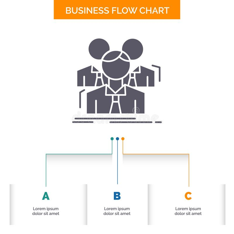 Команда, сыгранность, дело, встреча, дизайн графика течения дела группы с 3 шагами r иллюстрация вектора