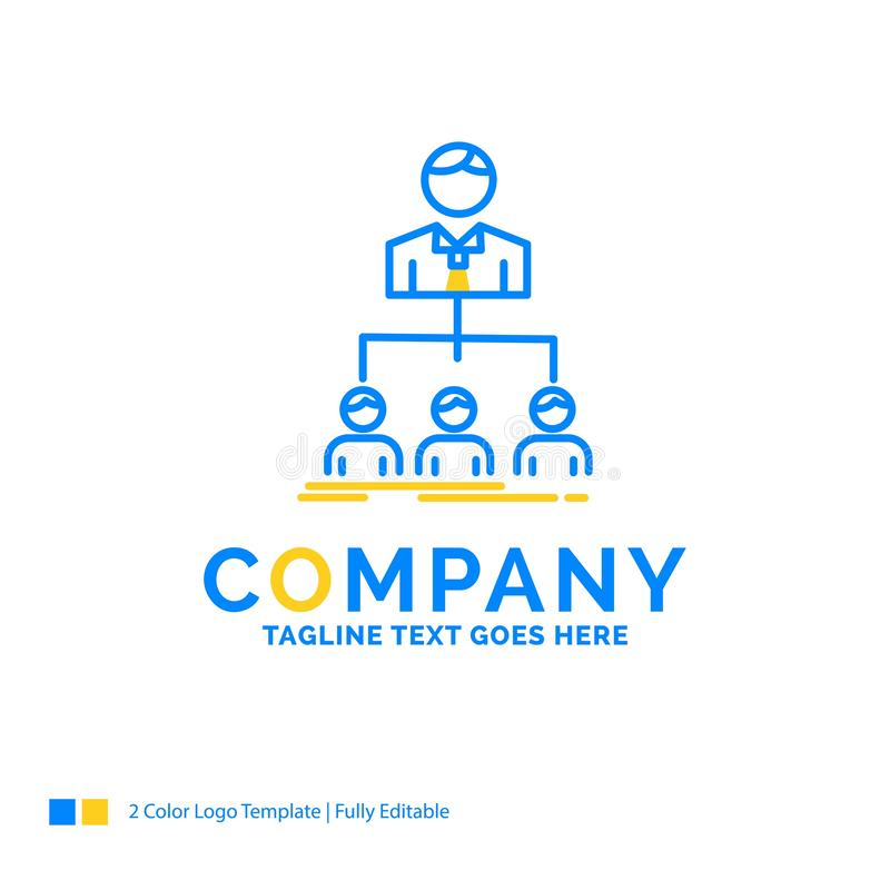 команда, сыгранность, организация, группа, дело компании голубое желтое иллюстрация вектора