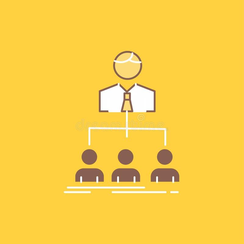 команда, сыгранность, организация, группа, линия компании плоская заполнила значок Красивая кнопка логотипа над желтой предпосылк иллюстрация вектора