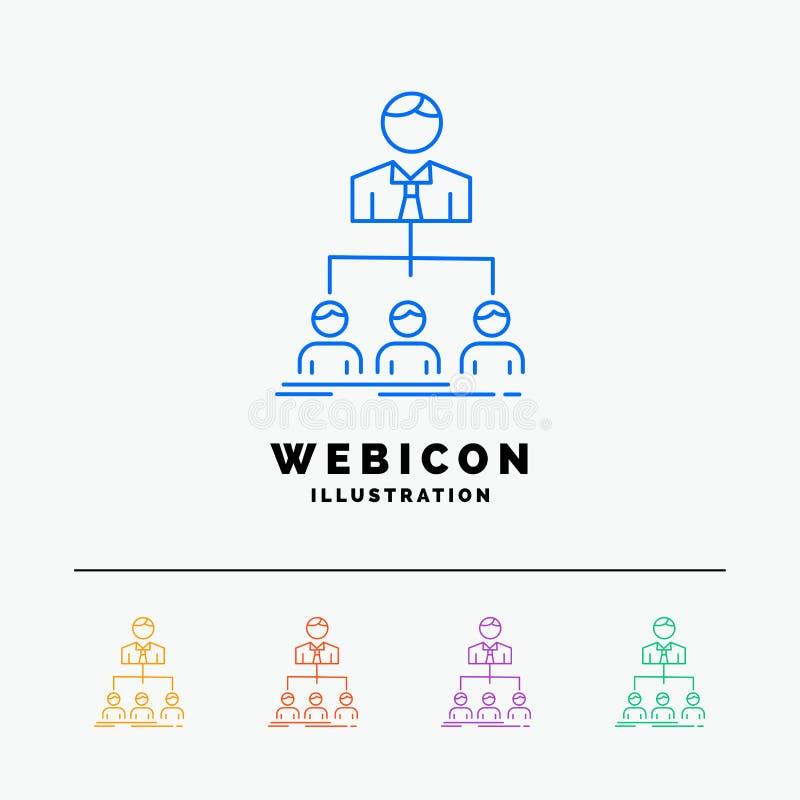 команда, сыгранность, организация, группа, шаблон значка сети цветного барьера компании 5 изолированный на белизне r иллюстрация штока