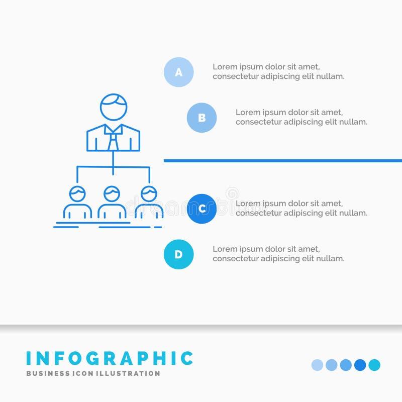 команда, сыгранность, организация, группа, шаблон Infographics компании для вебсайта и представление Линия стиль голубого значка  иллюстрация вектора
