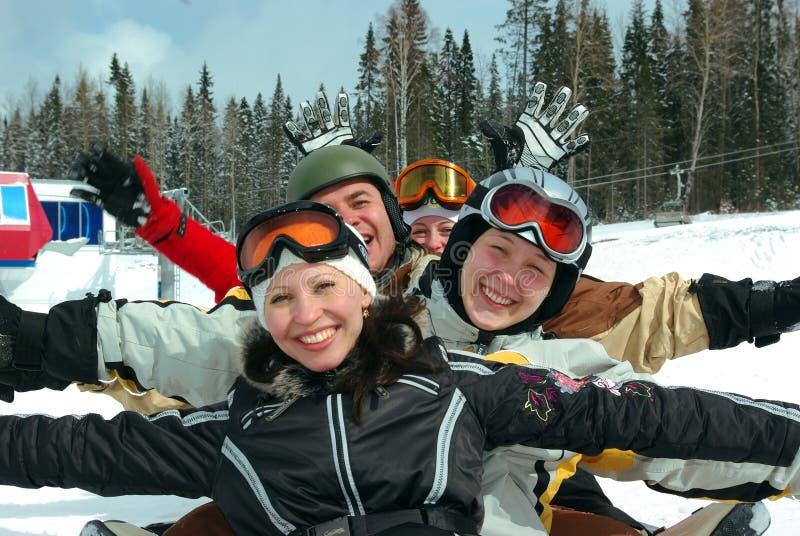 команда snowboard лыжи стоковая фотография