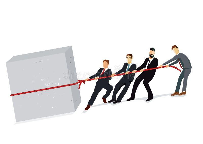 Команда дела вытягивая совместно иллюстрация вектора