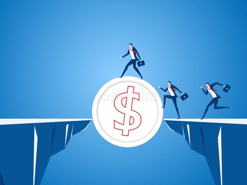 Команда дела используя монетку денег, который нужно пересечь через зазор между холмом Риск команды дела и концепция успеха бесплатная иллюстрация