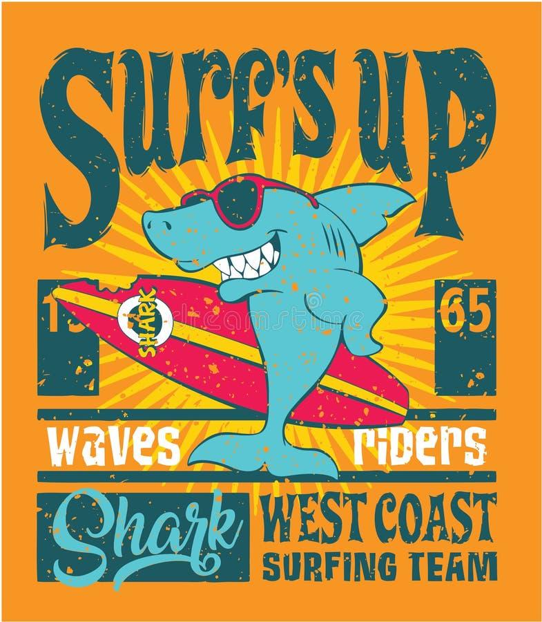 Команда западного побережья акулы занимаясь серфингом иллюстрация вектора