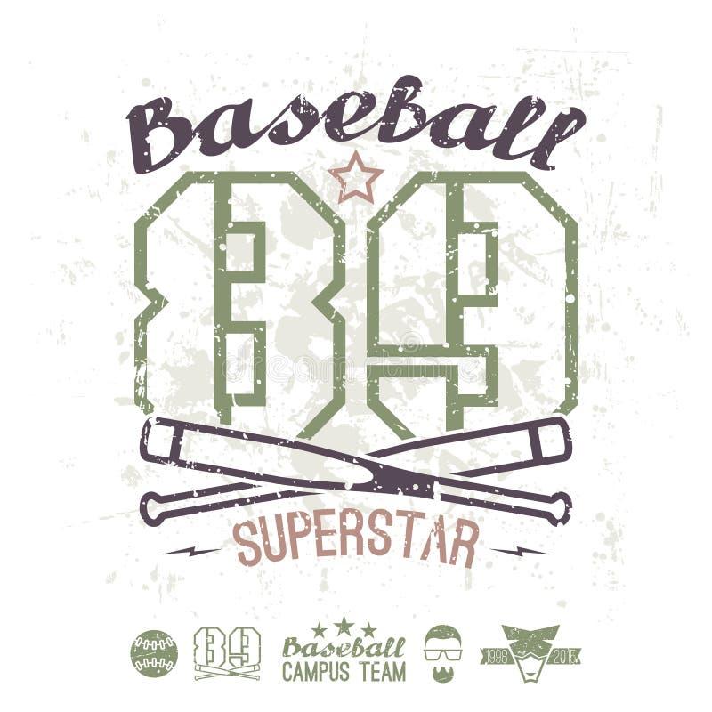 Команда коллежа суперзвезды бейсбола эмблемы иллюстрация вектора