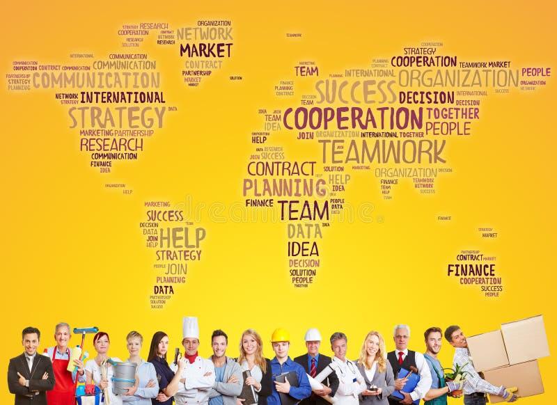 Команда международного сотрудничества и успеха стоковое изображение rf