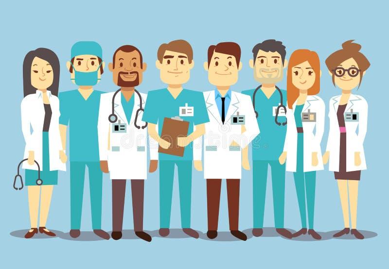 Команда медицинского персонала больницы врачует иллюстрацию вектора хирурга медсестер плоскую бесплатная иллюстрация