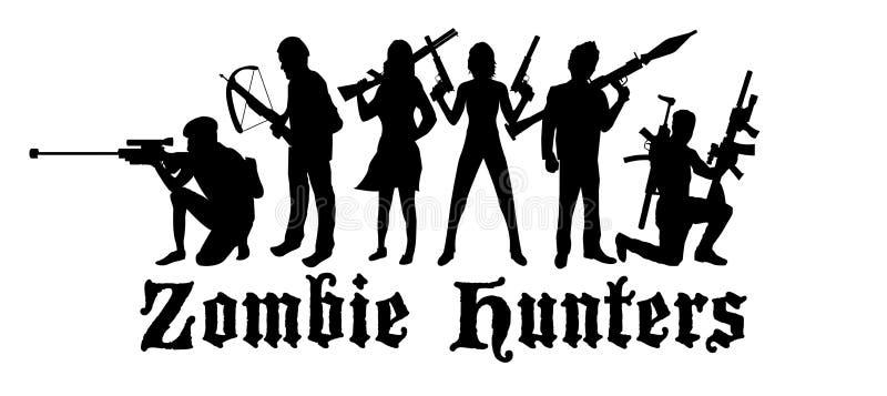 Команда охотников зомби хеллоуина иллюстрация штока
