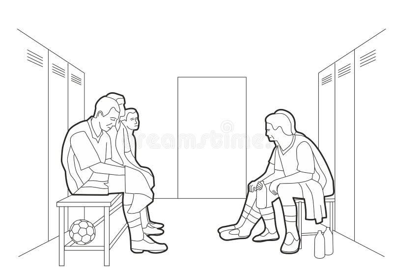 Команда уборной команды сидит в раздевалке иллюстрация вектора черная на белой предпосылке иллюстрация вектора