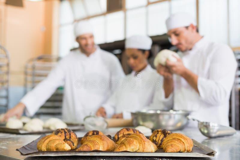 Команда хлебопеков работая на счетчике стоковая фотография rf