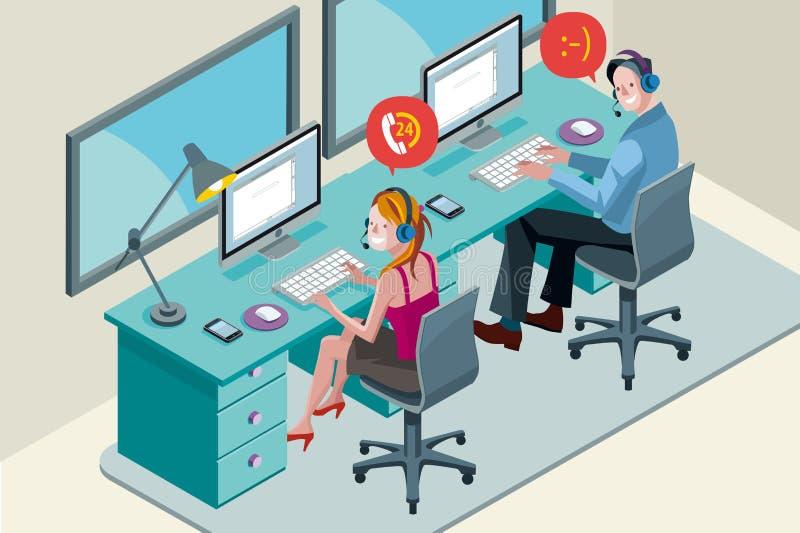 Команда центра телефонного обслуживания с шлемофоном иллюстрация штока