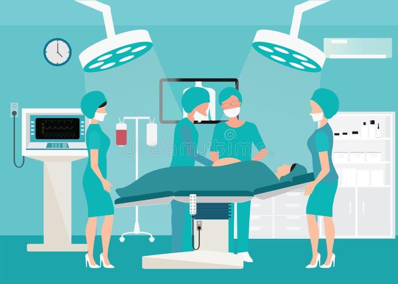 Команда Mecial поставляя младенца в больнице иллюстрация вектора