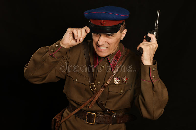 Командир с оружием стоковые изображения rf