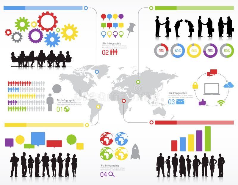 Команды статистик бизнесмены концепции сыгранности глобальной иллюстрация штока