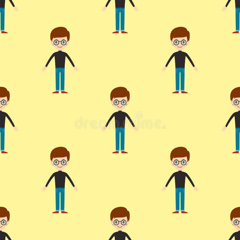 Команды характера человека приятельства картины портрета молодого парня иллюстрация вектора персоны мальчика людей безшовной счас бесплатная иллюстрация
