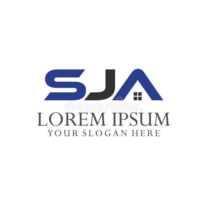 Комбинации письма s, j и a логотипа 3 комбинации письма иллюстрация вектора