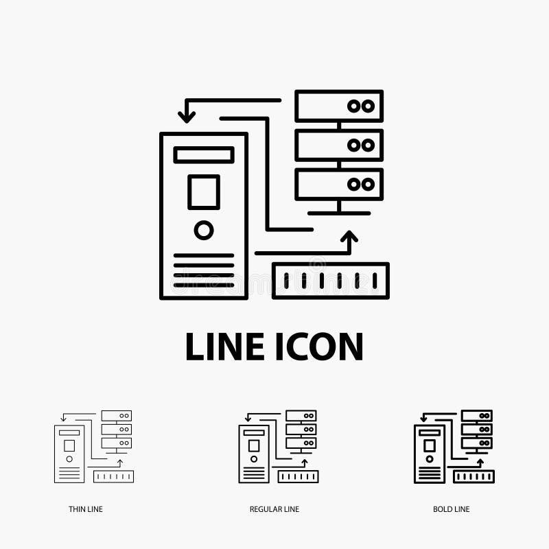 Комбинация, данные, база данных, значок электронных, информации в тонкой, регулярной и смелой линии стиле r иллюстрация вектора