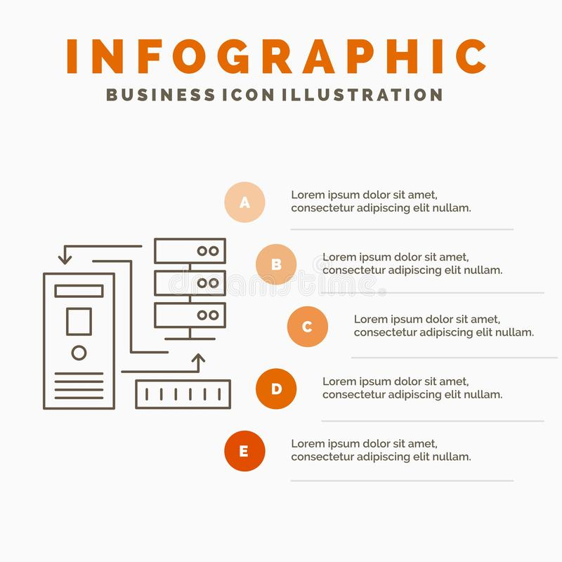 Комбинация, данные, база данных, шаблон электронных, информации Infographics для вебсайта и представление Линия серый значок с иллюстрация штока