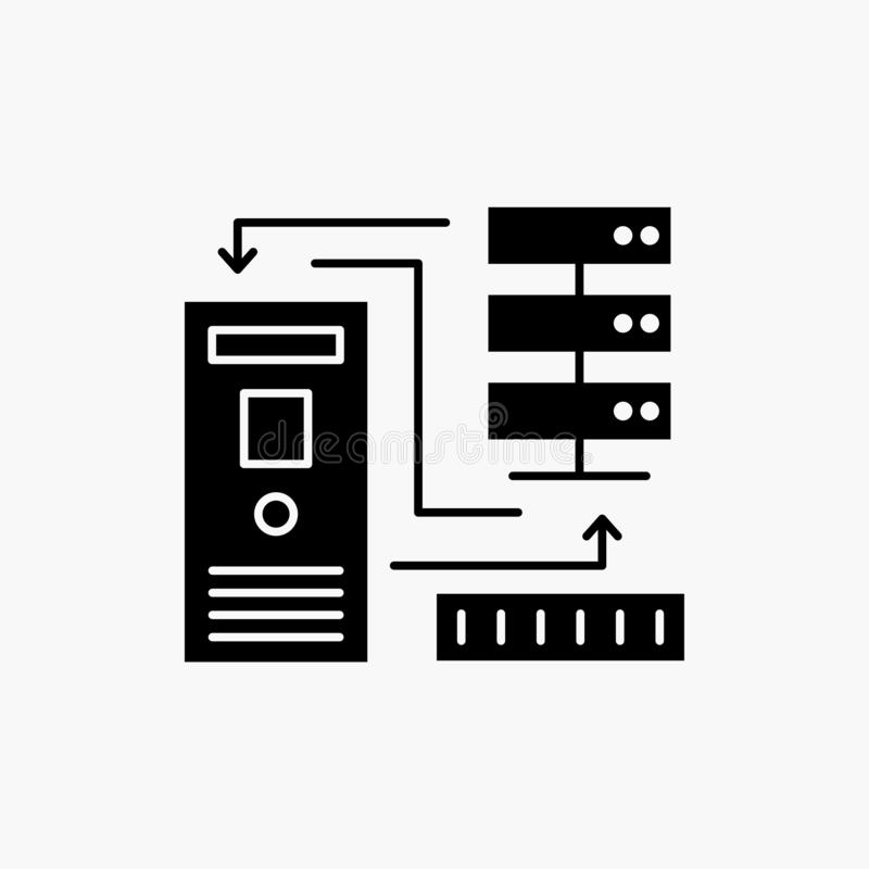 Комбинация, данные, база данных, электронная, значок глифа информации r иллюстрация вектора