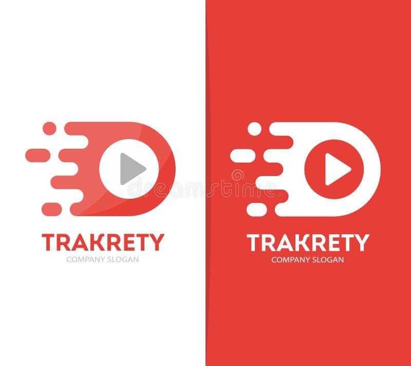 Комбинация логотипа кнопки игры вектора быстрая Символ или значок рекорда скорости Уникально тональнозвуковой и видео- шаблон диз иллюстрация вектора