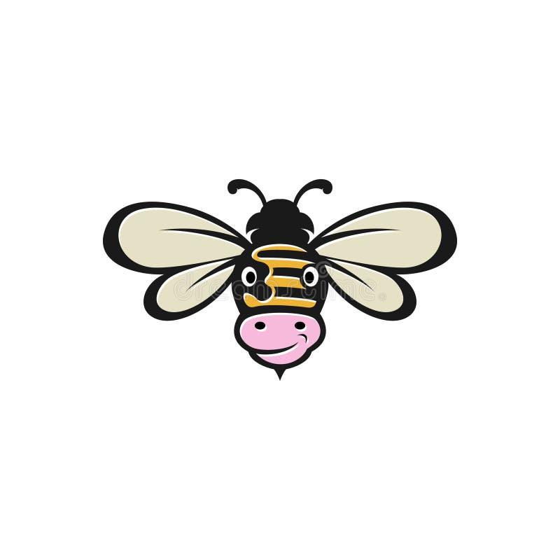 Комбинация пчелы и коровы для значка логотипа иллюстрация штока