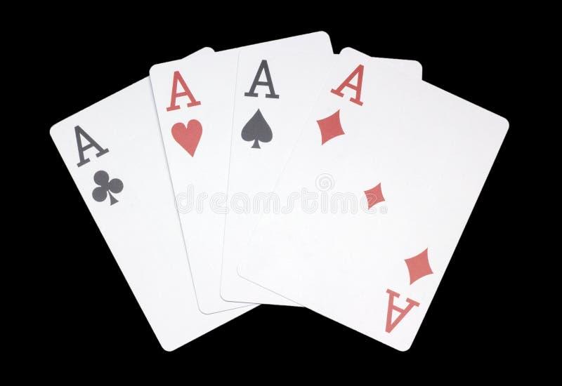 Комбинация 4 тузов, покер, казино, изогнула, на темной предпосылке стоковые изображения