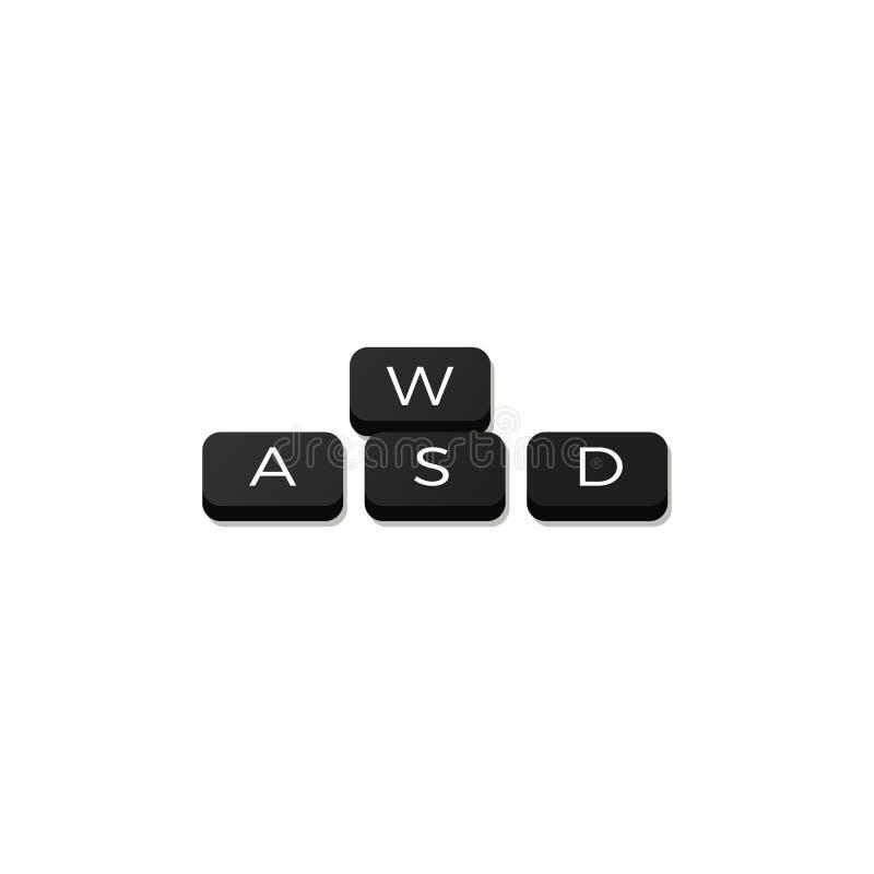 Комбинация w Wasd ключевая клавиатура движения игры s d иллюстрация вектора