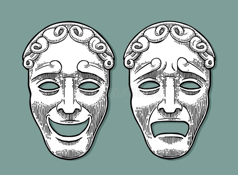 комедия маскирует трагизм театра Иллюстрация гравировки вектора винтажная черная бесплатная иллюстрация