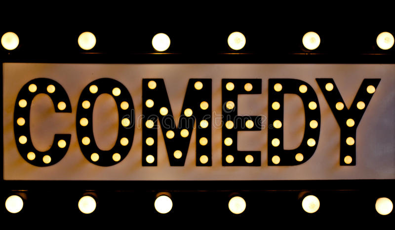 комедия освещает знак стоковое фото rf