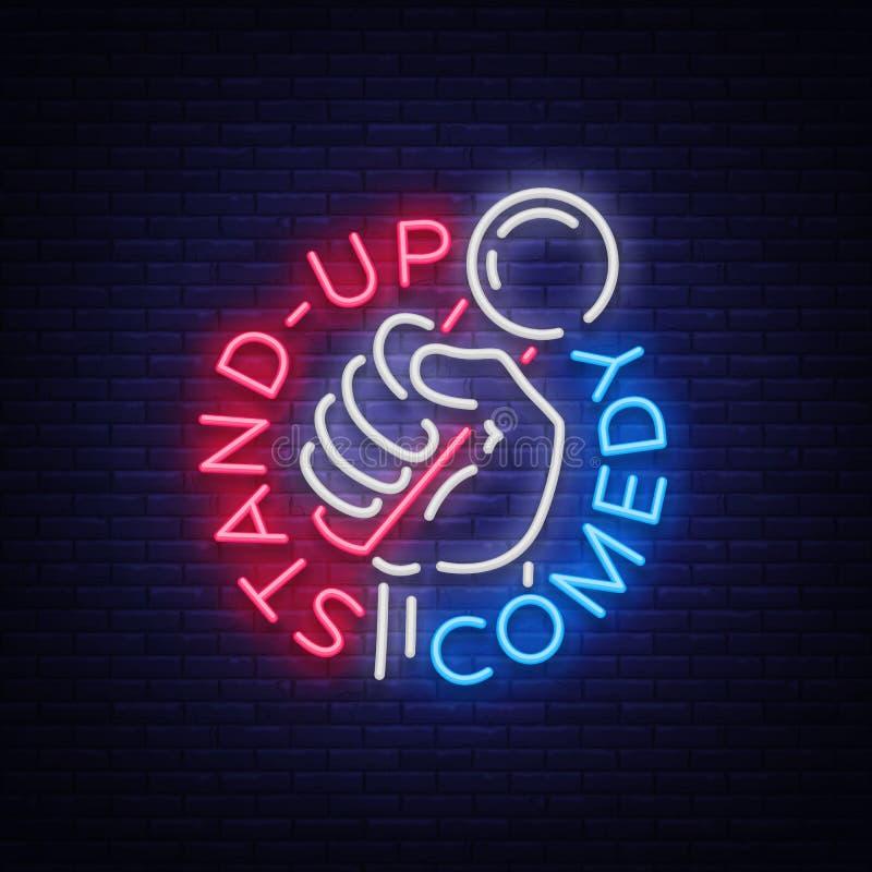 Комедия стоит вверх приглашение неоновая вывеска Логотип, рогулька эмблемы яркая, светлый плакат, неоновое знамя, гениальная ноча иллюстрация штока