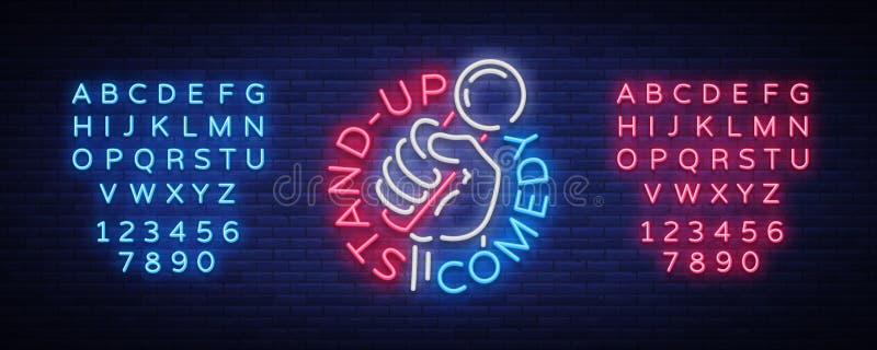 Комедия стоит вверх приглашение неоновая вывеска Логотип, рогулька эмблемы яркая, светлый плакат, неоновое знамя, рекламы ночи иллюстрация штока