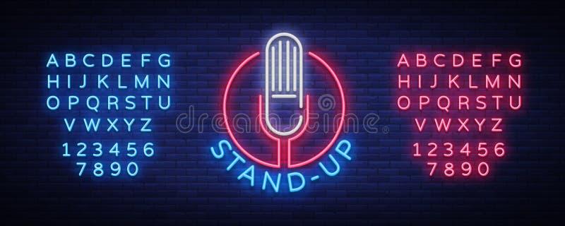 Комедия стоит вверх приглашение неоновая вывеска Логотип, рогулька эмблемы яркая, светлый плакат, неоновое знамя, рекламы ночи бесплатная иллюстрация