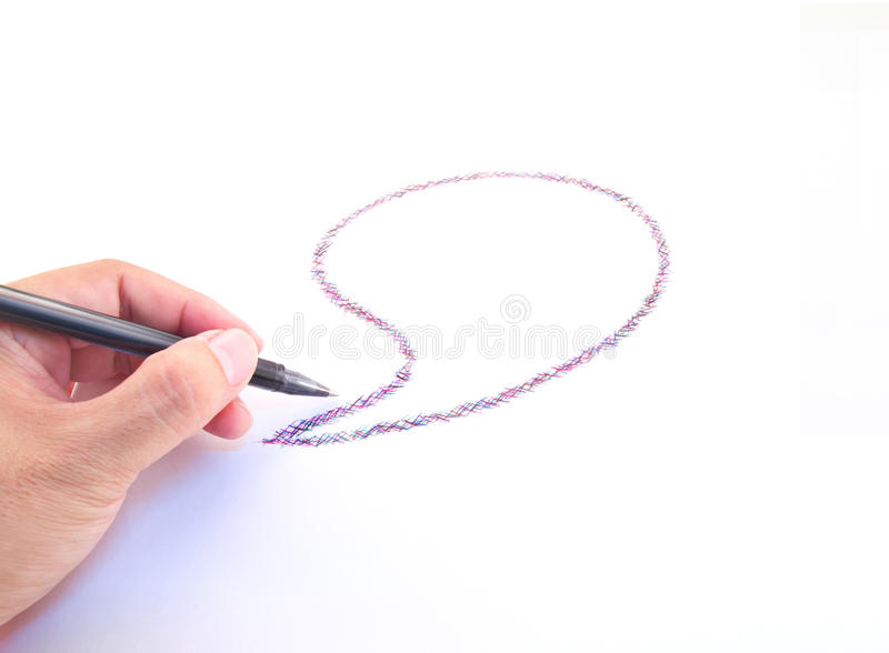 Комиксы пузырь и руки с пер стоковое изображение