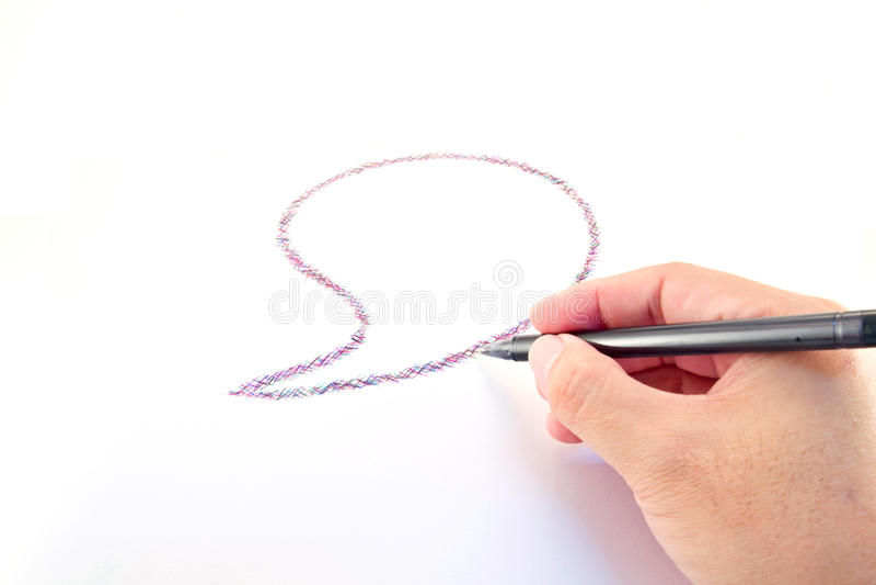 Комиксы пузырь и руки с резиной пер стоковое фото