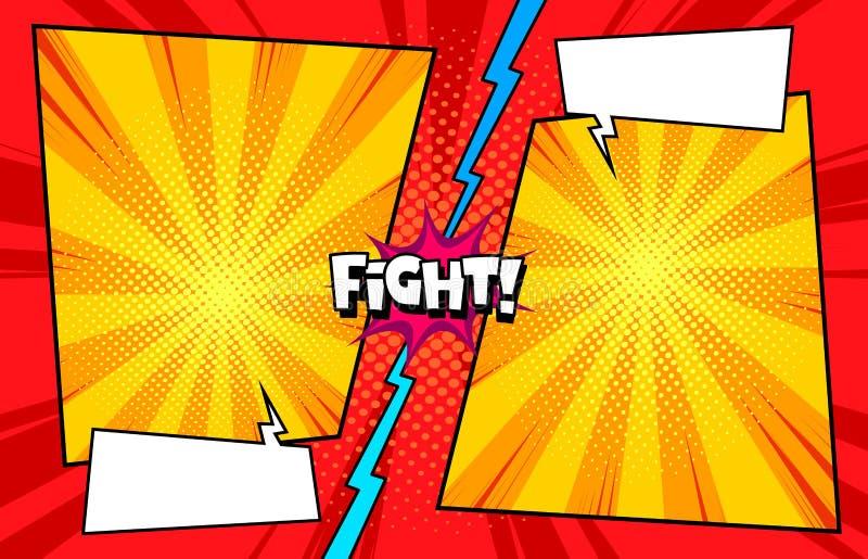 Комик против предпосылки шаблона боя, текстуры печати полутонового изображения иллюстрация штока