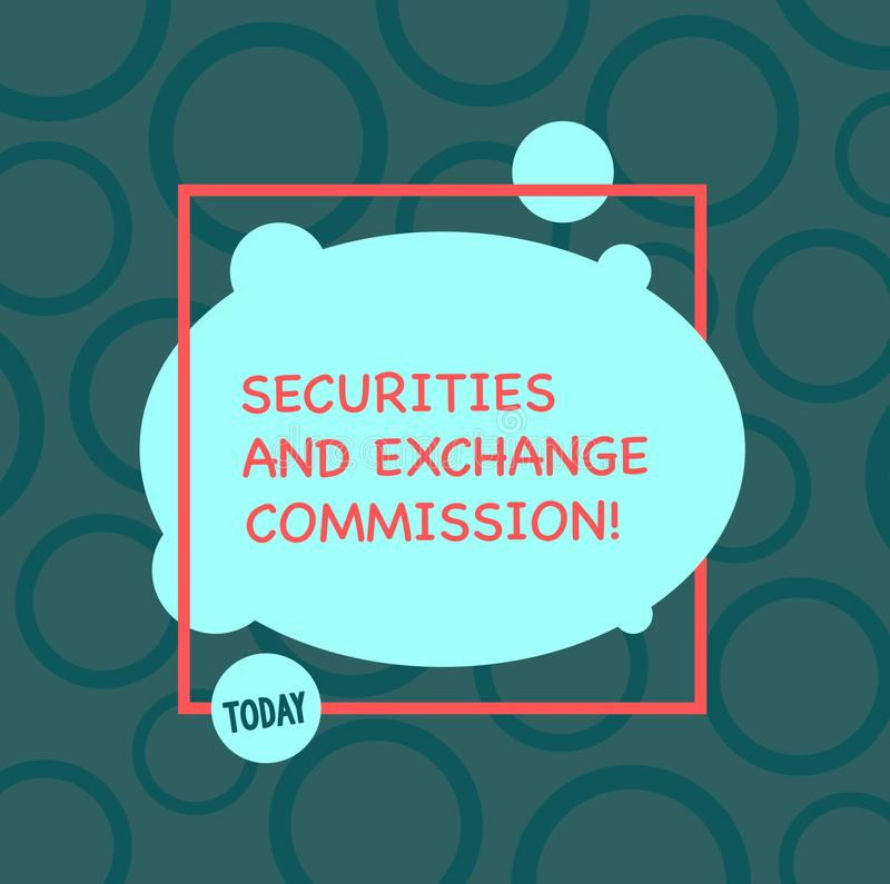 Комиссия по ценным бумагам и биржам показа знака текста Схематическая безопасность фото обменивая комиссии финансовые иллюстрация штока