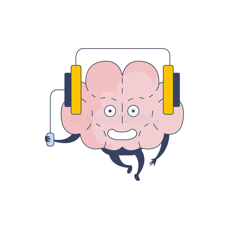 Комический персонаж музыки мозга слушая представляя интеллект и интеллектуальную деятельность квартиры шаржа человеческого разума иллюстрация штока