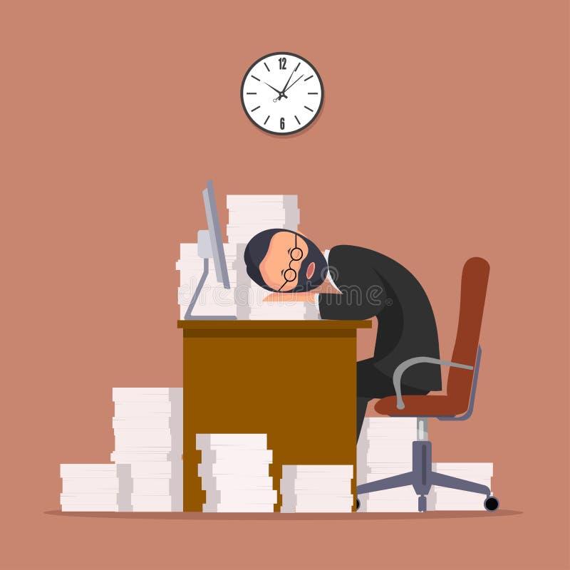 Комичное изображение работника офиса который имеет упаденное уснувшее в рабочем месте иллюстрация вектора